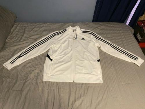 New Men's Tiro Track Suit Stripe White/Black Clima Cool Material
