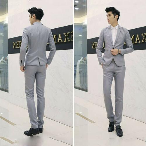 Men's Formal Slim One Button Suit Business Coat Jacket Tops