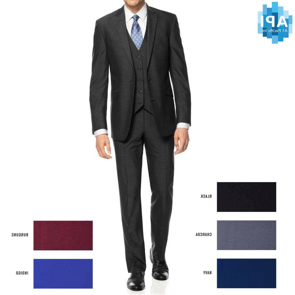 New Men's Formal Slim Fit 3 piece Suit two button solid co