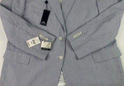 New Stafford Mens Suit Blue Striped Cotton