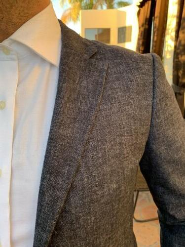 NWT BROTHERS MENS MILANO FIT BLUE BLAZER JACKET UNSTRUCTURED