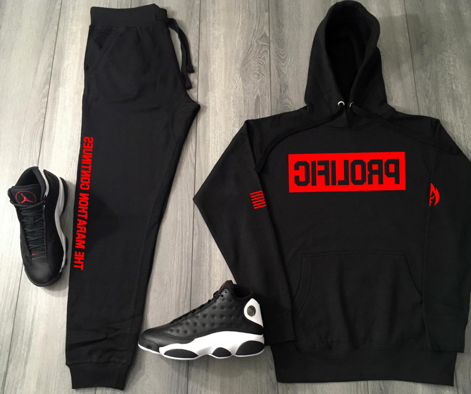 Prolific Red Box Logo Track Suit To Match Air Jordan Bred Ni