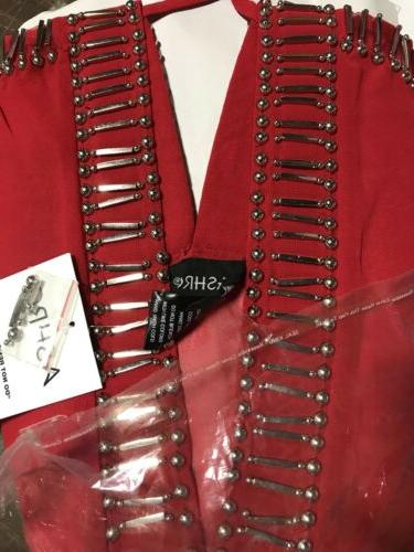 Ashro Red Beaded Formal Pant Suit Dinner Party Cruise L XL 3X