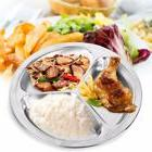 Round Stainless Steel 3 Sections Divided Dish Snack Dinner P