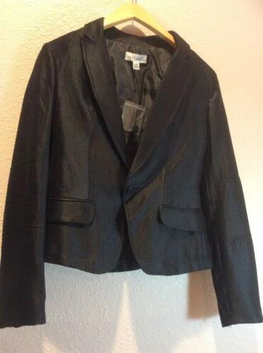 shiny business career cropped suit jacket black