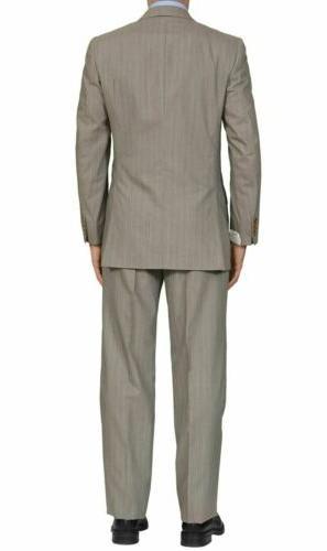 "BRIONI ""SIENA"" Handmade Gray Striped Wool DB 50 NEW US"