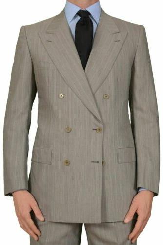 BRIONI Handmade Gray Striped DB Suit EU NEW US