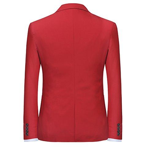 Slim Fit Suit Button Casual/Formal/Wedding Tuxedo,Red,X-Large