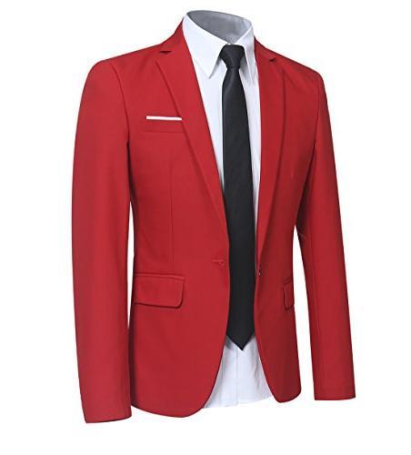 Slim Fit 2 Piece Suit Men Button Casual/Formal/Wedding Tuxedo,Red,X-Large