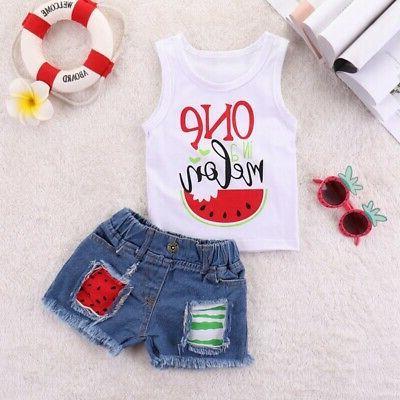 Summer Baby Girls Casual  Denim Shorts Suits Costume Set USA