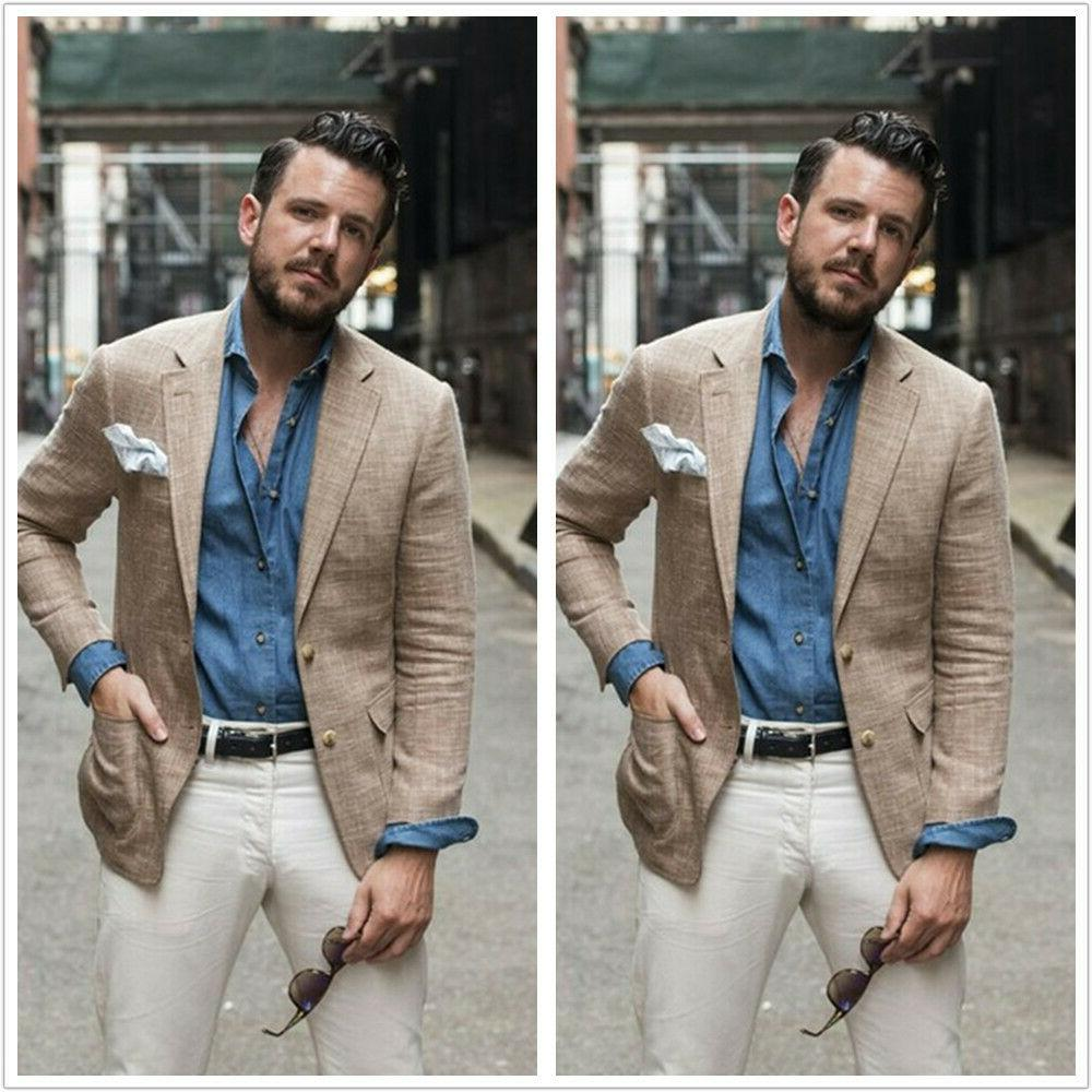 Summer Linen Men's Coat Blazer Khaki Causal Party Sports Sli