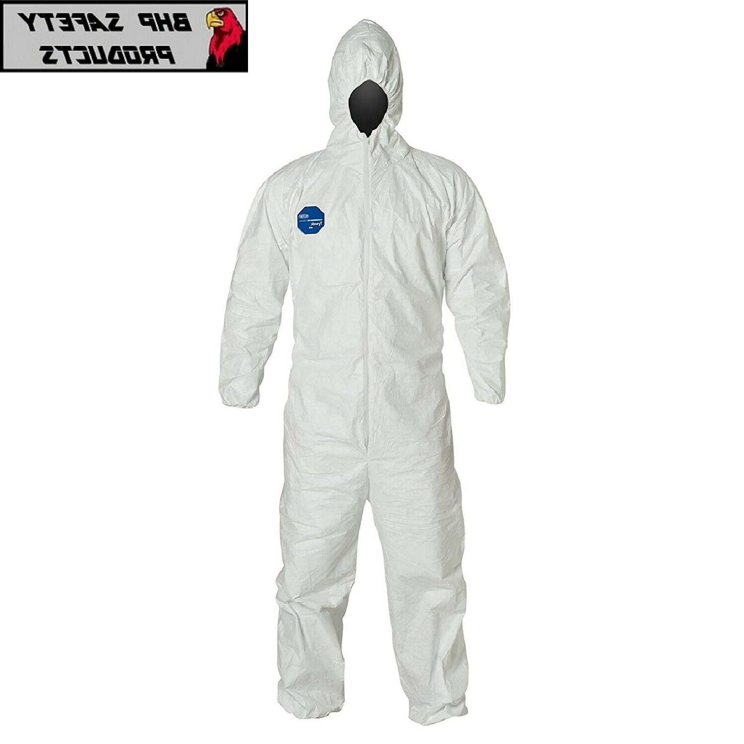 ty127s white tyvek coverall bunny suit hood