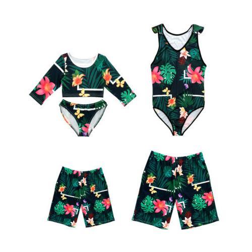 US Family Men Women Vintga Floral Bathing Suit