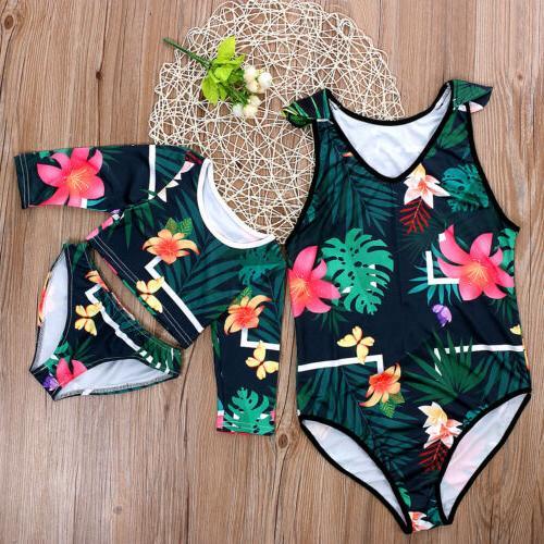 US Men Women Kids Floral Beachwear Bathing
