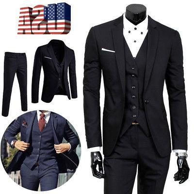 mens business formal wedding 3 piece suit
