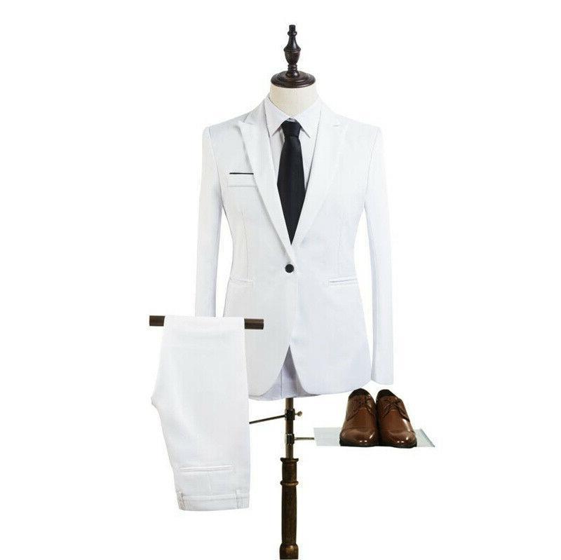 Mens Slim Fit Formal Business Blazer + Pants Wedding
