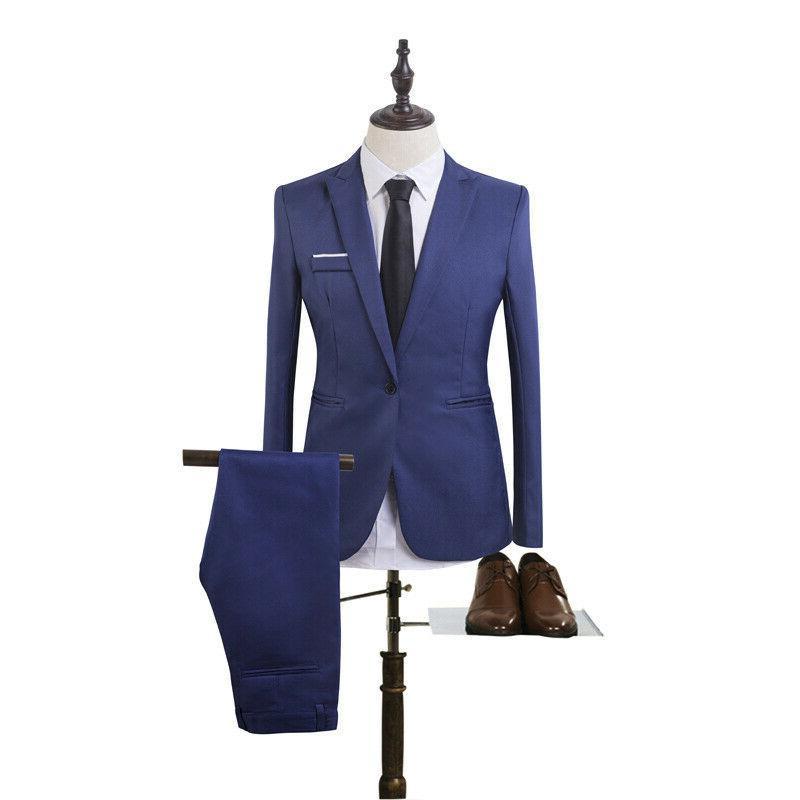 Mens Slim Formal Business Blazer + Suit Wedding