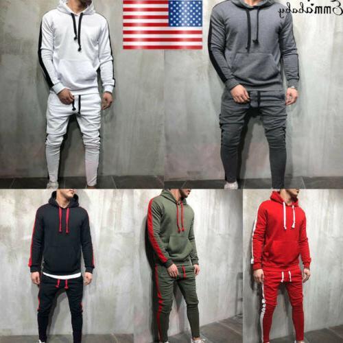 US Men Tracksuit Jogging Top Bottom Sport Sweat Suit Trouser