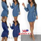 US Women's Long Sleeve Button Up Pocket Denim Mini Dress Wit
