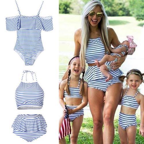 USA Family Matching Women Kid Baby Girls Bikini Bathing Suit