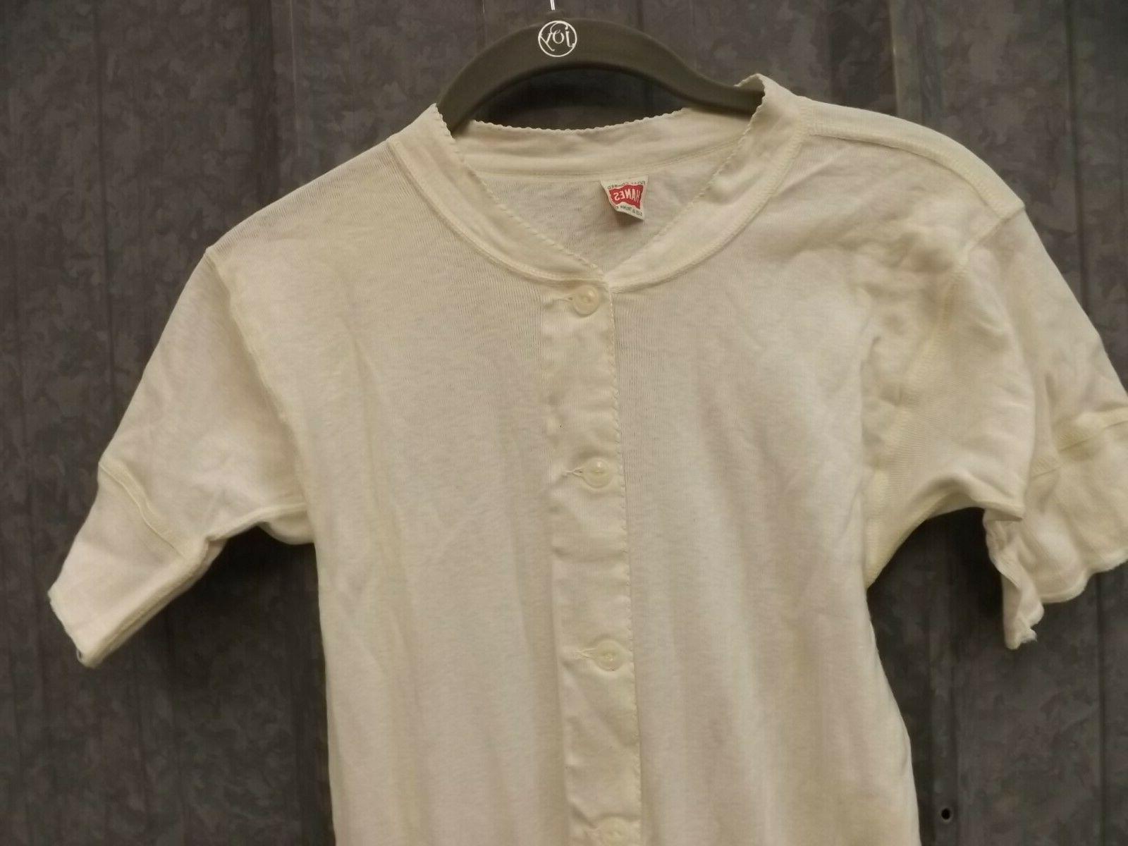 Hanes White Cotton Sleeve Union Underwear