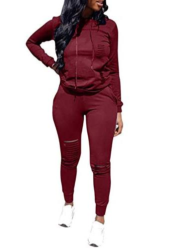 women casual ripped hole pullover hoodie sweatpants