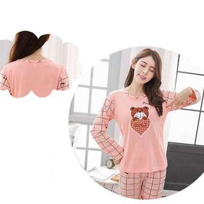 Women Lady Sleepwear Long Sleeve Printing Suit