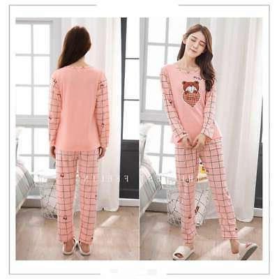 Women Lady Sleepwear Sleeve Pajamas Cat Printing Nightwear