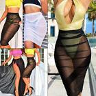 Women Summer Beach Dress Transparent Mesh Bikini Cover Up Sw