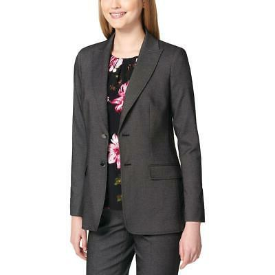 womens gray pindot two button suit jacket