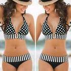 Women's Swimwear Push-Up Bikini Set Striped Padded Swimsui