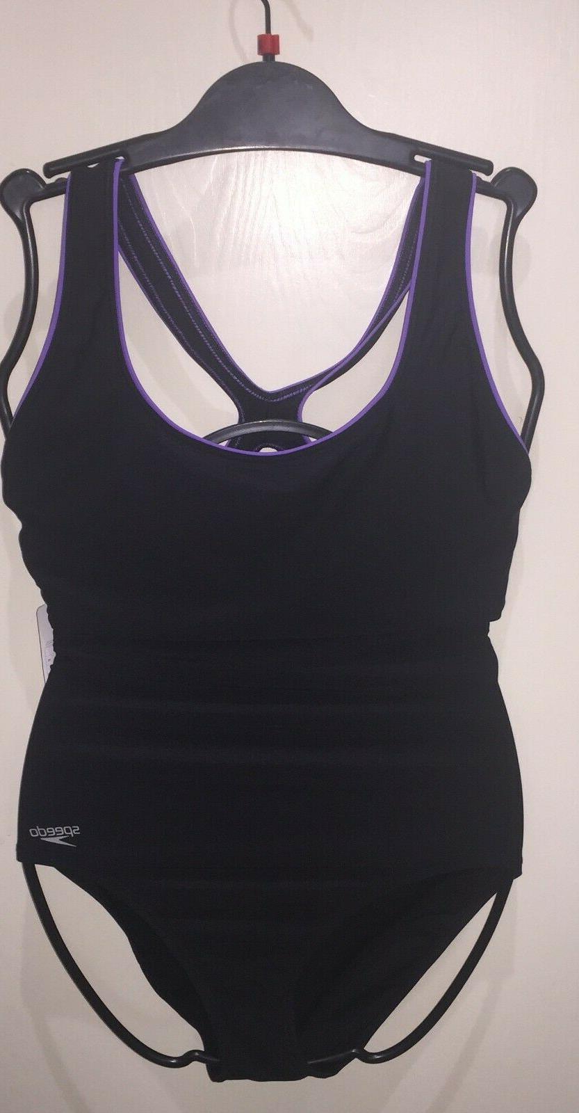 SPEEDO Ultraback Bathing Black Purple New tags