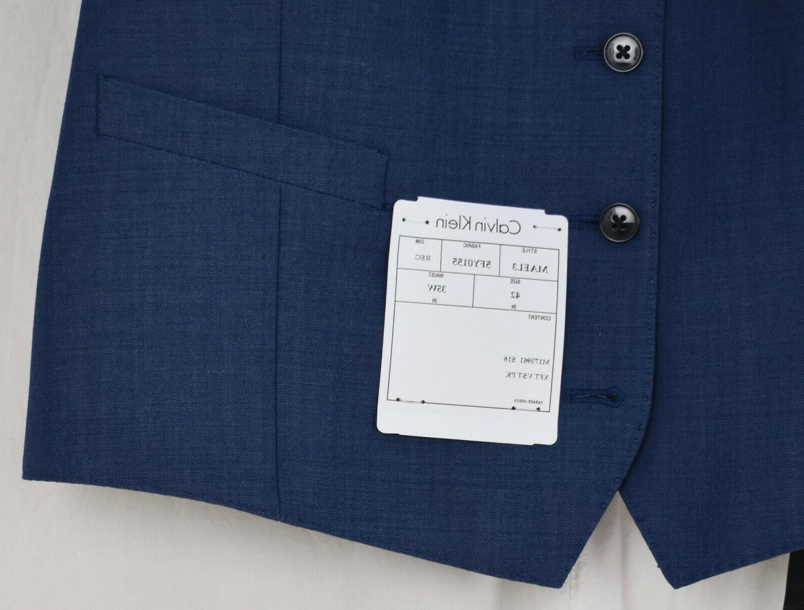 CALVIN 3-Piece Solid Blue Suit Wool Jacket Vest