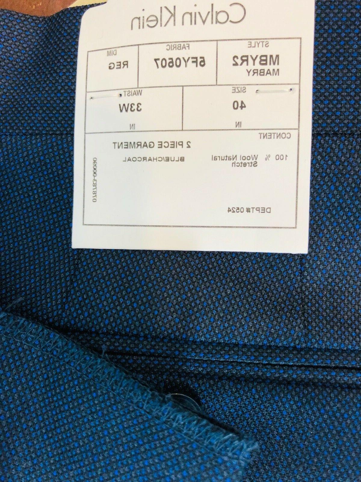 Calvin X Navy Wool Button 40R Flat