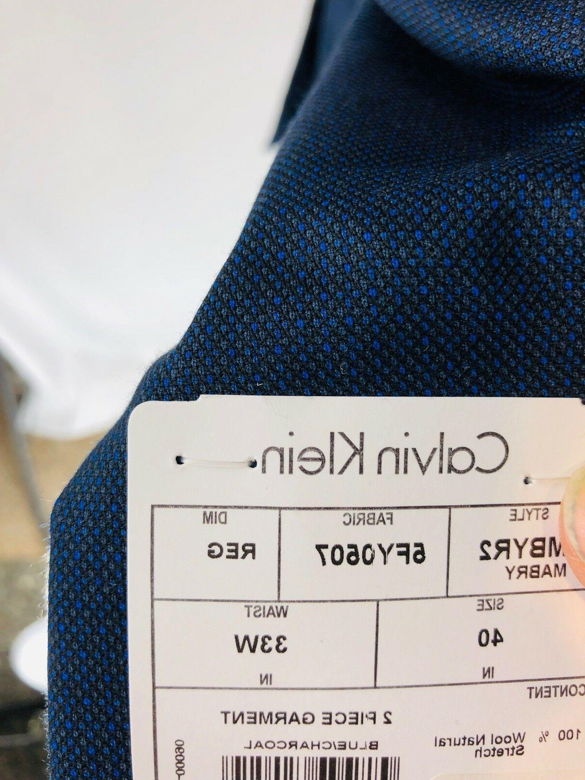 Calvin Klein X Slim Navy Wool Button 40R Flat Front