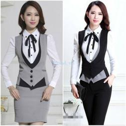 Ladies Blazer Career Suits Dress Vest Waistcoat Skirt Suit P