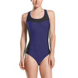 Speedo Ladies Colorblock Swimsuit Size XL 16 18 NWT Blue Bla