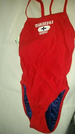 Speedo Lifeguard Red White One Piece Swim Suit Lycra 34/8 NW