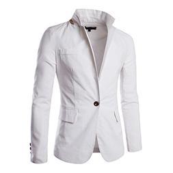 Pishon Men's Linen Blazer Lightweight Casual Solid One Butto
