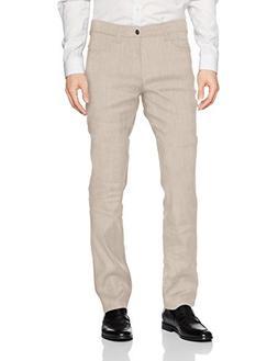 Cubavera Men's Linen-Blend 5-Pocket Pant with Stretch, Natur