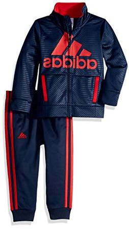 adidas Boys' Little BOS Tricot Jogger Tracksuit 2-Piece Set,