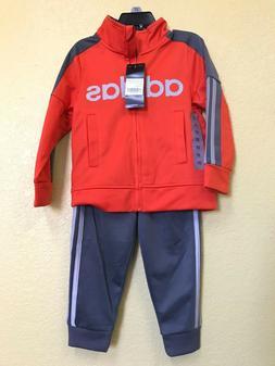 adidas Little Boys 3 Stripe Full Zip Jogger Track Suit size
