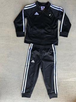 adidas Little Boys 3 Stripe Full Zip Jogger Track Suit set 4
