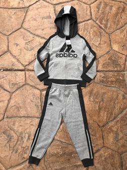 adidas Little Boys Full Zip Grey Jogger Sweats Track Suit si