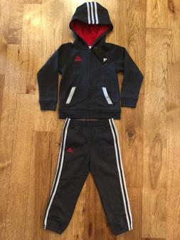 adidas Little Boys Hoodie and 3 stripe Jogger Track Suit siz
