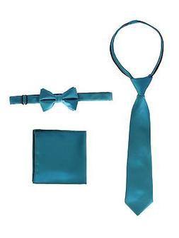 Gioberti Little Boys Teal Solid Necktie Bow Tie Pocket Squar