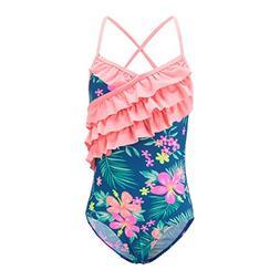 Girls One Piece Swimsuits Hawaiian Ruffle Swimwear Beach Bat
