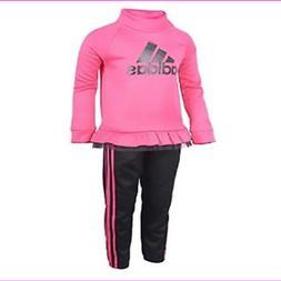 Adidas Little Girls Sweatshirt & 3 stripe Jogger Track Suit