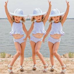 Lovely Kids Baby Girls Blue White Striped Suit Tops Shirt Dr