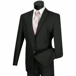 LUCCI Men's Black 2 Button Classic Fit Poplin Polyester Suit